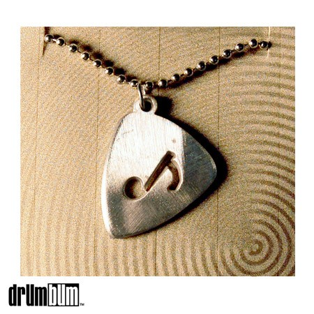 Pewter Guitar Pick Necklace - Music Note