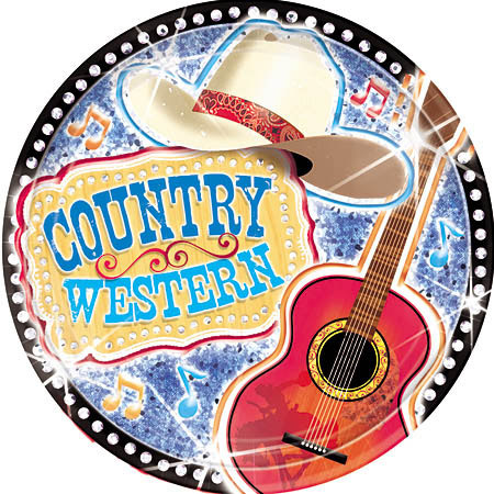 Western Birthday Party Supplies On Country 9 Plates Music Notes Theme