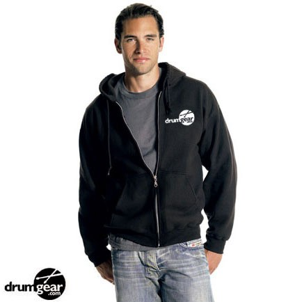 Drum Gear Zipper Hoodie - This hip, stylish zippered hoodie is perfect for any drummer! The sleek, black hoodie features the popular DrumGear.com logo and a