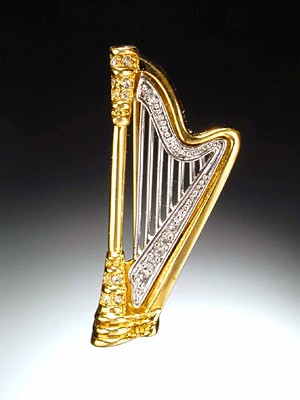 MUSIC GIFTS: MISC: Harp Broach, Music Gifts, Music Jewelry