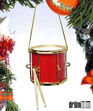 DRUM BUM MISCELL CHRISTMAS Red Marching Drum Christmas Ornament