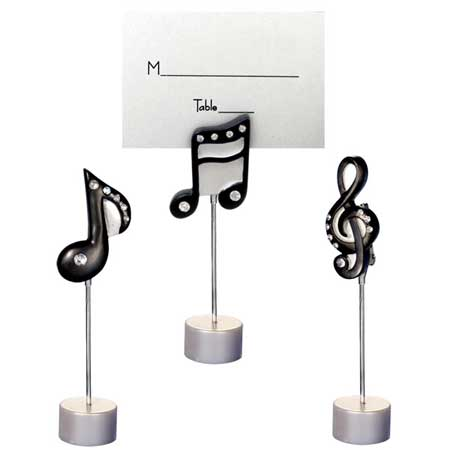 MUSIC GIFTS: Notes: Music Notes Place Card Holders White Drum Set Silhouette