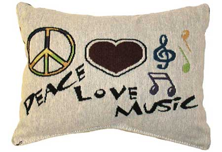 Peace, Love, Music Pillow