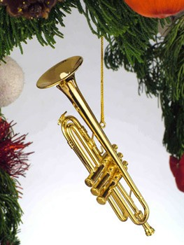 MUSIC GIFTS: HORNS: Trumpet Christmas Ornament