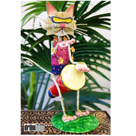 cat drummer figurine