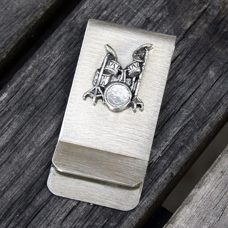drummer money clip with drumset