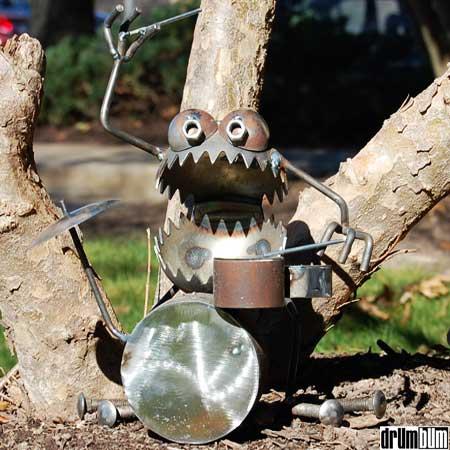 metal drummer figurine