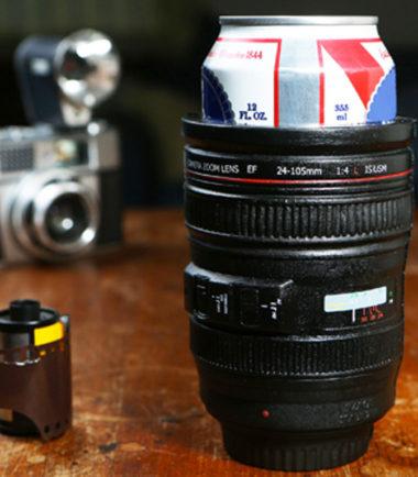 camera lens koozie